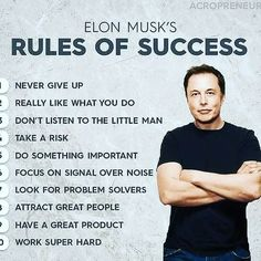 Elon Musk Rules For Success. inspirational quotes, motivational quotes, inspirational quotes women, Encouragement for Entrepreneur, Motivation for Entrepreneur. quotes quotes about love quotes for teens quotes god quotes motivation Inspirational Quotes For Women, Motivational Quotes For Success, Positive Quotes, Success Motivation Quotes, Fitness Motivation, Wisdom Quotes, Quotes To Live By, Life Quotes, Food Quotes