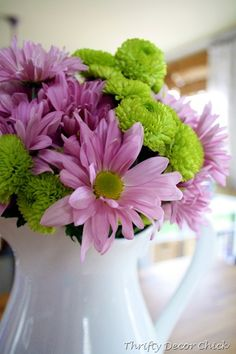Fresh flowers always make me smile....lilac and lime
