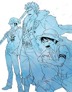 One Piece - Luffy, Law and Kid One Piece Movies, One Piece Comic, One Piece Ship, One Piece Fanart, One Piece Luffy, One Piece Anime, Trafalgar Law Wallpapers, Funny Anime Pics, One Piece Cosplay