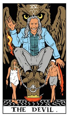"Bob as The Devil tarot card by Benjamin Mackey. ""Mike? Mike? Can you hear me? Catch you… with my death bag. You may think I've gone insane. But I promise, I will kill again."""