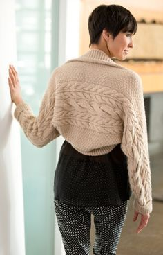 Free Knitting Pattern - Women's Shrugs, Wraps & Capes: Crowded Cable Shrug