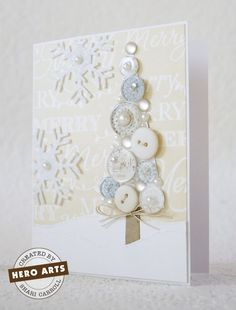 "This beautiful white button tree card would make a lovely ""hello winter"" card as well as a handmade Christmas card. Use your white buttons on a white background next to felt white snowflakes to create your own winter wonderland. Christmas Tree Cards, Xmas Cards, Diy Cards, Xmas Tree, Button Christmas Cards, Christmas Buttons, Simple Christmas Cards, Christmas Wrapping, Greeting Cards"