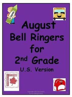 FREEBIE! August Bell Ringers for 2nd Grade contains 21 daily Math & Language prompts for your students to complete while you handle attendance, milk money, etc!  Can also be purchased as part of a full-year version of bell ringers.