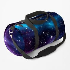 """""""Starry Sky Galaxy"""" Duffle Bag by HavenDesign   Redbubble Galaxy Print, Work Travel, Duffel Bag, Purple, Blue, Gym Bag, Print Design, Shoulder Strap, Just For You"""