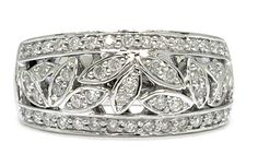 Pretty 1/2 Ct Natural Diamond Wedding Band Ring in a Leaf Design http://stores.channeladvisor.com/gemstoneking/Items/shd-rf0081-03w?=shd-rf0081-03w=1/2%20CT%20NATURAL%20DIAMOND%2014K%20WHITE%20GOLD%20FLOWER%20BAND%20RING
