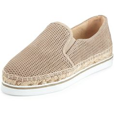 Jimmy Choo Dawn Suede Espadrille Sneaker ($475) ❤ liked on Polyvore featuring shoes, sneakers, light gold, suede slip on shoes, jimmy choo sneakers, slip on sneakers, slip on shoes and metallic sneakers