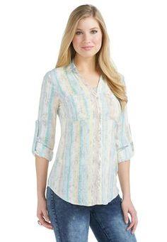 Cato Fashions Printed Striped Equipment Shirt - Plus #CatoFashions