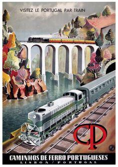 Vintage Portugal Lisbon Portuguese Railway Travel Tourism Poster Re-Print Wall Decor Train Posters, Railway Posters, Poster Art, Retro Poster, Visit Portugal, Portugal Travel, Vintage Advertisements, Vintage Ads, Decor Vintage