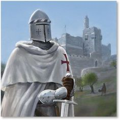 The Templar knight defends Jerusalem and the traveling christians in the holy land