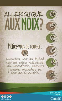 Avez-vous une allergie alimentaire? Les noix sont l'un des dix principaux allergènes alimentaires. Tree Nut Allergy, Les Allergies, Tree Nuts, Food Safety, Pecan, A Food, Health, Campaign, Canada