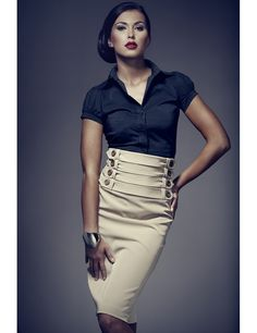 Figl 36 Skirt Beige - A high waisted, pencil Skirt with 4 rows of belts and buttons detailing. Fashion Details, Love Fashion, Fashion Outfits, Womens Fashion, Fashion Design, Fashion Trends, Preppy Sweater, Top Secret, Office Looks