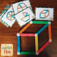Game ideas for kids. See pics only. Not in English. Toddler Learning Activities, Montessori Activities, Preschool Learning, Infant Activities, Preschool Activities, Teaching Kids, Maria Montessori, Kids Crafts, Craft Stick Crafts