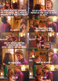 "Cordelia and Wesley roleplay Buffy and Angel. (Angel's next line - ""Why don't you both bite me?"")"