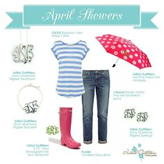 Get the look! April showers! Experience Initial Outfitters!  The collection is fabulous! From classic pearls and monogrammed and personalized engraved jewelry, to the hottest new trends! We also have scarves, gifts for baby, home accessories, embroidered handbags and accessories – even monogrammed car decals! www.facebook.com/iowithdebra