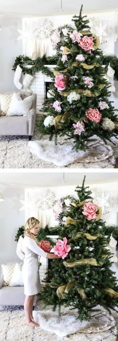 Festive as well as Lovely 60 Special DIY Floral Xmas Tree Suggestions – Page 50 – My Beauty Note Christmas Tree Flowers, Noel Christmas, Pink Christmas, Xmas Tree, Winter Christmas, Christmas Tree Decorations, Christmas Crafts, Holiday Decor, Christmas Ornaments
