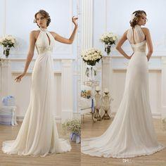 Halter A Line Wedding Dress 2016 Greek Style Elegant Ivory White Wedding Dresses High Neck Bead Beach Bridal Gowns Fashion Vestidos De Novia Cheap Classic A Line Wedding Dresses From Ourfreedom, $145.55| Dhgate.Com