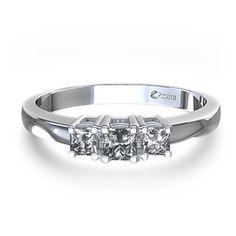3 stone, Princess cut, diamond engagement ring in Palladium :) my dream ring right here.