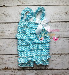 Sale Light Turquoise chevron romper light by MyLilSweetieBoutique, $11.95