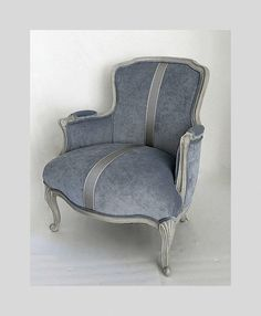 not a wingback but comfy. French Vintage Lounge Chair Grey NEW Velvet NEW by NEOVINTAGEorg, $485.00