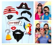Pirate Photo Booth Kit- Props on sticks.  These props are fantastic fun and help add to the memories of the night. http://www.novelties-direct.co.uk/party-supplies-photo-booth-kit.html