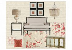 Living Room - coral and tan