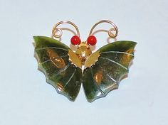 1770~Vintage Goldtone Carved Jade Butterfly Coral Eyes Brooch Pin Swoboda?