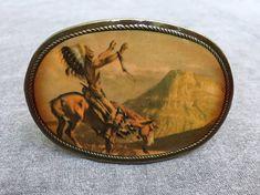 Vintage Belt Buckle Native American Indian Chief Enamal and