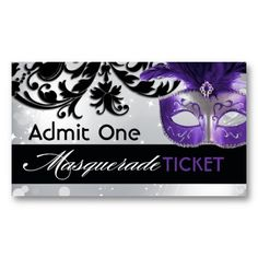 Oooh, love this with the purple mask! Masquerade Admission Tickets Business Card Templates