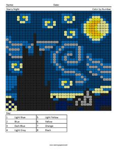 Starry Night- Megapixel Painting If you love paintings, try this coloring page based off of Vincent van Gogh's Starry … Cross Stitch Art, Cross Stitch Designs, Cross Stitching, Cross Stitch Embroidery, Cross Stitch Patterns, Pixel Pattern, Pattern Art, Art Minecraft, Minecraft Bedroom