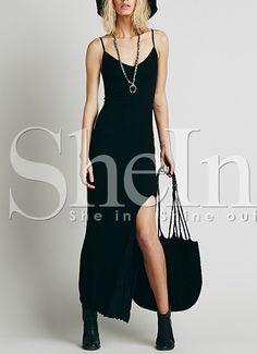 Black Spaghetti Strap Split Front Dress 12.99