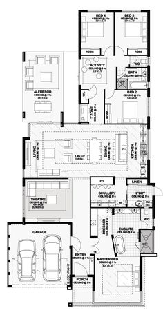Haus pläne Floor Plan Friday: Open plan dining, living and kitchen with raised ceiling - - Open Plan Kitchen Dining Living, Living Room Floor Plans, 4 Bedroom House Plans, Kitchen Floor Plans, Family House Plans, New House Plans, Dream House Plans, House Floor Plans, Living Room Plan
