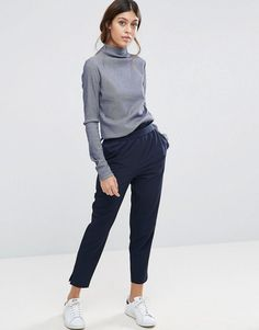 ASOS High Waisted Paper Bag Pants - Navy