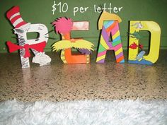 Dr. Seuss Character Letter Art on Etsy, $10.00 perfect for a book corner