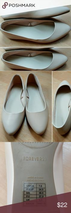 Forever 21 Nude Size 7.5 Flats NEW Women's size 7.5 Forever 21 pointed toe flats - new without box. Shoes are super soft and are in a great neutral nude / blush color. Fast shipping - same or next day. Thanks! Forever 21 Shoes Flats & Loafers