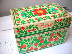 Vintage Folk Scandinavian Metal Recipe Box