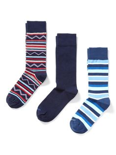 The Ferry Blue, Solid Signature Navy and The Crosstown Navy Socks (3 Pack) by Vivarati on Gilt.com