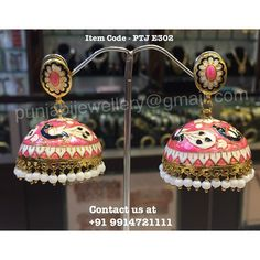 """Punjabi Traditional """"Gold Plated Handmade Meena Work Jhumki"""" (Next To Real)  Item Code - PTJ E302  For price please inbox with Image or WhatsApp at this number +91 9914721111 or you can email us at punjabijewellery@gmail.com #punjabi #traditional #jewellery #meena #jhumki #kundan #indian #fashion #facebook #insta"""