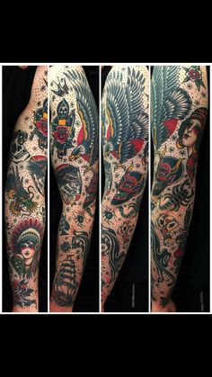Old school traditional tattoo sleeve