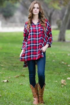 Feels So Right Flannel Tunic Red – TayaBella
