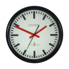 Roger Lascelles Swiss Station Wall Clock Black 30cm