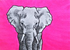 """Pink Elephant #399 (ARTIST TRADING CARDS) 2.5"""" x 3.5"""" by Mike Kraus - art aceo atc animals wildlife endangered conservation kids christmas"""