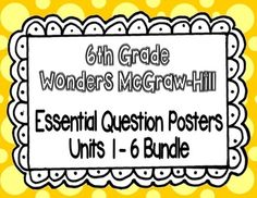 "These posters are for the 6th grade Wonders McGraw-Hill reading series.  This set includes 30 posters for the entire school year (units 1-6).  Each poster includes the following:~Weekly Concept~Essential Question~Unit and Week Label (in the bottom right-hand corner...for example Unit 1 Week 1 would be labeled as ""1.1"")I like to print them on cardstock and laminate, so I can use them for years to come."