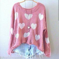 Conjunto pantalon corto vaquero y camisa de lana rosa y blanca con corazones