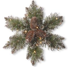 National Tree Company 14 Glittery Bristle Pine Snowflake Wreath With Pine Cones & 15 Battery-Operated Led Lights With Timer Outdoor Garland, Boxwood Garland, Pre Lit Garland, Pine Garland, Snowflake Wreath, Snowflake Decorations, Pine Cone Christmas Decorations, Christmas Arrangements, Floral Arrangements