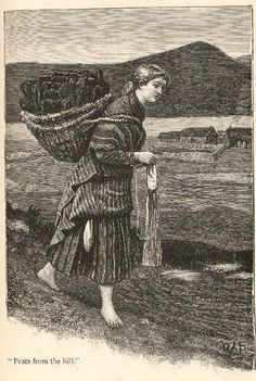 """In Shetland, they knit while they walk as in this drawing of a girl carrying a kishie full of peat. """"Shetland Knitter"""", from """"Britta, A Shetland Story"""", George Temple. ©Shetland Museum, Lerwick, Shetland, #01434"""