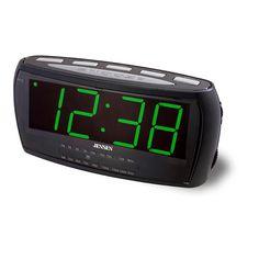 JENSEN AM/FM Alarm Clock Radio green LED display; AM/FM receiver; User can wake to radio or alarm; Radios, Green Clocks, Clock Numbers, Radio Online, Display Lcd, Tabletop Clocks, Radio Alarm Clock, Green Led, Internet Radio