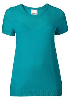 sheego Shirt mit Lockstrickmuster und Rippbündchen am Saum und Ärmel.