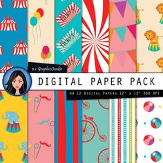 """Circus Digital Paper:""""COLORFUL CIRCUS"""" Circus Party - Circus Theme - Circus Paper Pack with Circus Scrapbook Paper for Instsnt Download by GraphicsJunkie on Etsy https://www.etsy.com/listing/190316158/circus-digital-papercolorful-circus"""