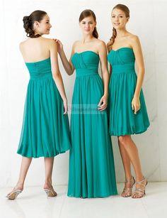 Long-short Green Bridesmaid Dresses