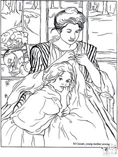 """iColor """"Masterpieces"""" ~ Young Mother Sewing by Mary Cassatt, 1900"""
